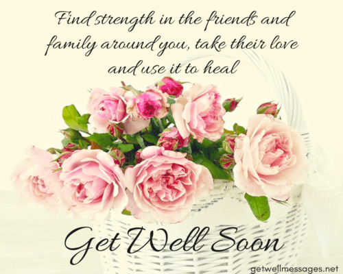 get well soon message flower basket