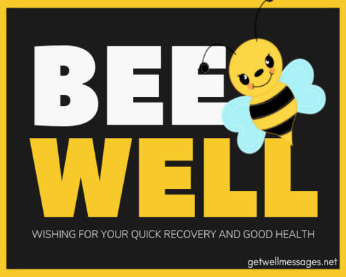 funny get well message bee well quick recovery and good health